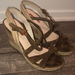 Prada Espadrilles Brown Suede Wedge size 38.5